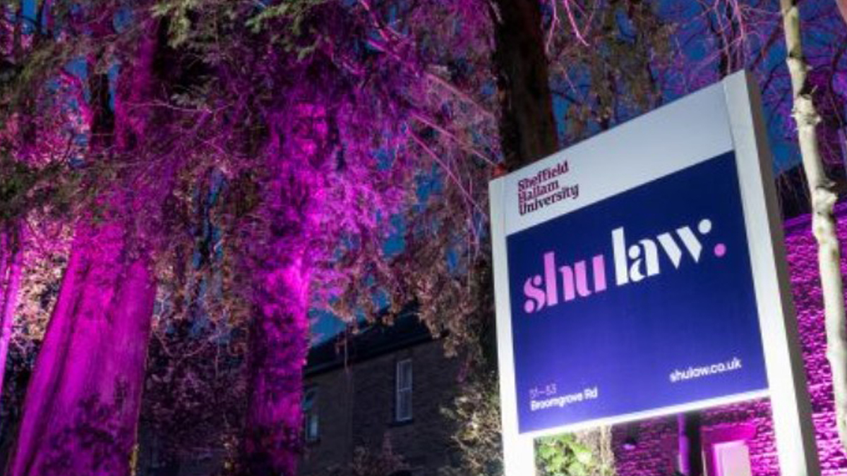 picture of SHU Law sign outside building